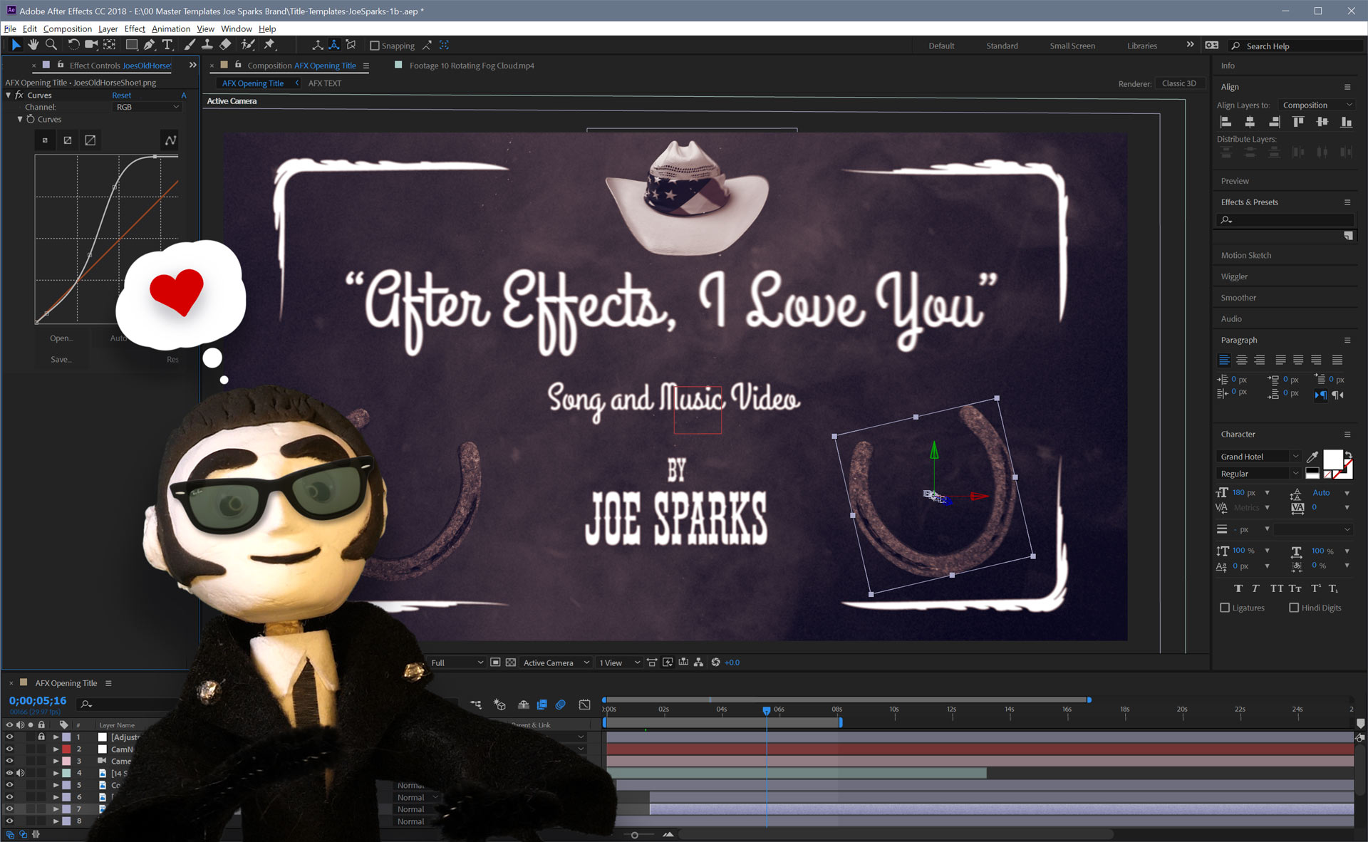 Joe Sparks Puppet with After Effects