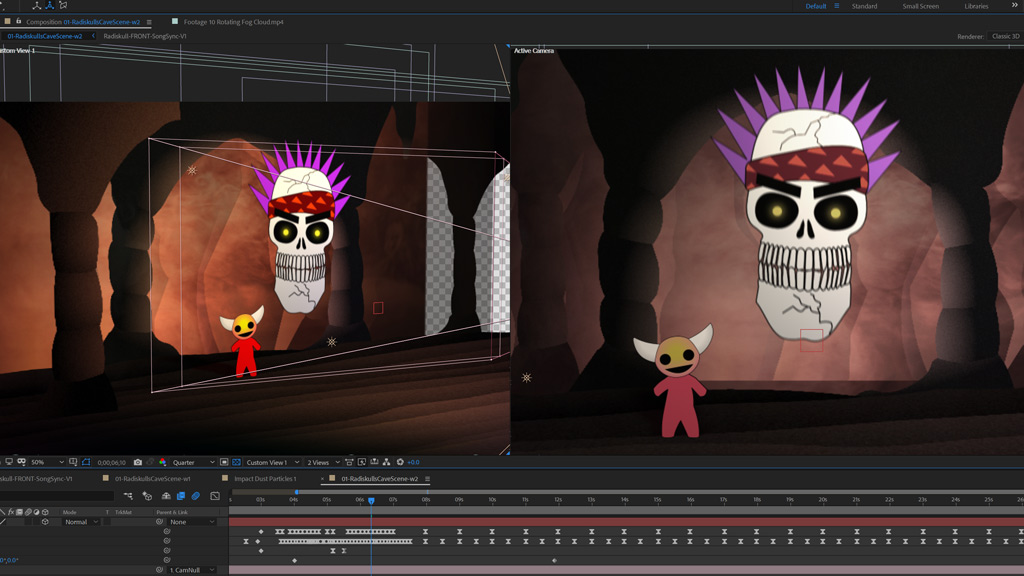 Radiskull and Devil Doll inside After Effects